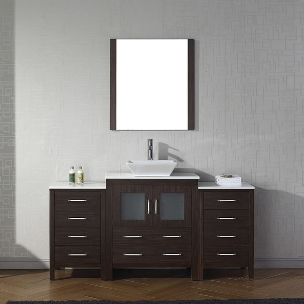 Elegant Virtu USA Dior 66 Inch White Stone Single Bathroom Vanity Set With Faucet  Options