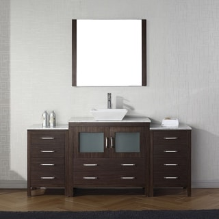Virtu USA Dior 66 Inch White Marble Single Bathroom Vanity Set With Faucet  Options