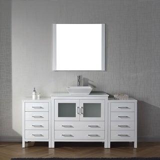 Virtu USA Dior 72-inch White Stone Single Bathroom Vanity Set with Faucet Options