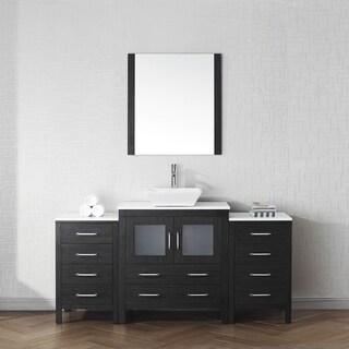 Virtu USA Dior 68-inch White Stone Single Bathroom Vanity Set with Faucet Options