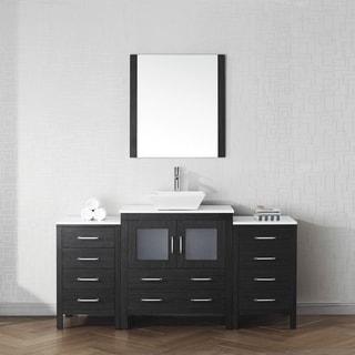 Virtu USA Dior 68 Inch White Stone Single Bathroom Vanity Set With Faucet  Options