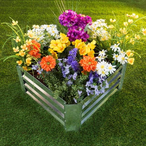 """Raised Garden Bed Plant Holder Kit With Adjustable Galvanized Iron by Pure Garden (23.5"""" L x 23.5"""" W x 12"""" H)"""