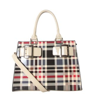 Diophy Shiny Patent PU Leather Front Double Buckle Large Structured Plaid Pattern Tote GZ-6165|https://ak1.ostkcdn.com/images/products/17375558/P23616172.jpg?impolicy=medium