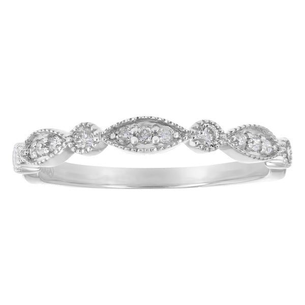 10k White Gold 1/5 carat Diamonds Art Deco Band Ring By - White H-I