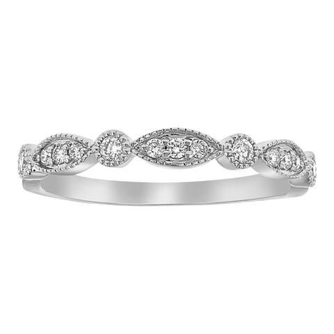 10k White Gold 1/5ct Diamonds Art Deco Band Ring by Beverly Hills Charm - White H-I - White H-I