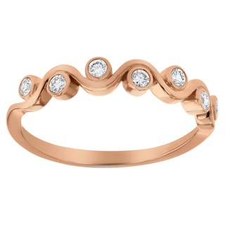 10K Rose Gold 1/5 carat Diamonds Fancy Band Ring By Beverly Hills Charm - White H-I