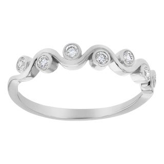 10K White Gold 1/5 carat Diamonds Fancy Band Ring By Beverly Hills Charm - White H-I