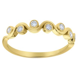 10K Yellow Gold 1/5 carat Diamonds Fancy Band Ring By Beverly Hills Charm - White H-I