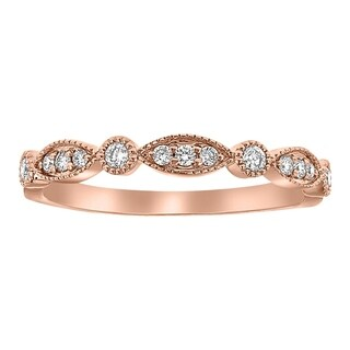 10K Rose Gold 1/5 carat Art Decko Diamonds Band Ring By Beverly Hills Charm - White H-I