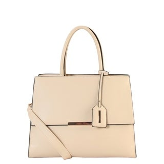 Diophy Saffiano PU Leather Large Structured Top Handle Handbag with Removable Strap SZ-6339