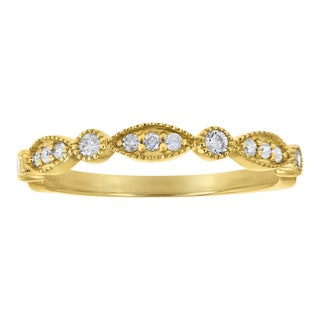 10k Yellow Gold 1/5 carat Diamonds Art Deco Band Ring By - White H-I