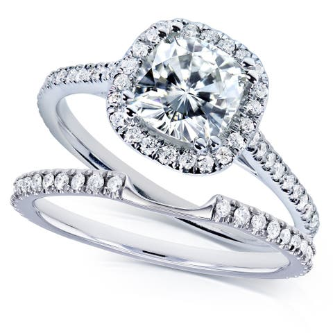 Annello by Kobelli 14k White Gold 1-1/2ct TGW Cushion Colorless (D-E-F) Moissanite and Diamond Halo Bridal Set