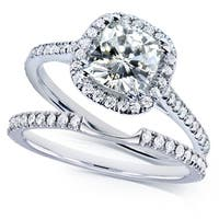 Annello by Kobelli 14k White Gold 1-1/2ct TGW Cushion Near Colorless (FG) Moissanite and Diamond (GH) Halo Bridal Set
