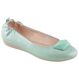Pin Up Couture OLIVE-08 Women's Foldable Ballet Flats With Geometric Adornment