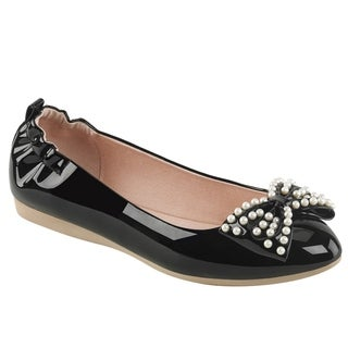 Pin Up Couture IVY-09 Women's Foldable Ballet Flats With Pearl Embellished Bow