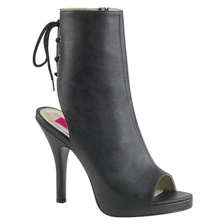 Pleaser Pink Label EVE-102 Open Toe/Heel Back Lace-Up Ankle Boot (Option: 14)