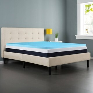Spring Coil Gel Infused 2-Inch Foam Mattress Topper, Removable Cover