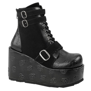 Demonia CONCORD-55 Women's Skull Lace Up Platform Wedge Ankle Booties