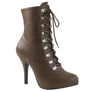 Pleaser Pink Label EVE-106 Women's Lace Up Side Zip Stiletto Heel Ankle Boot|https://ak1.ostkcdn.com/images/products/17379152/P23619245.jpg?impolicy=medium