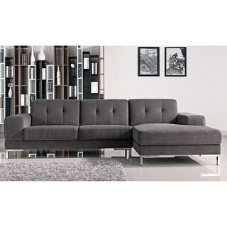 Halsted Classic Grey Fabric Tufted Sofa with Right-facing Chaise