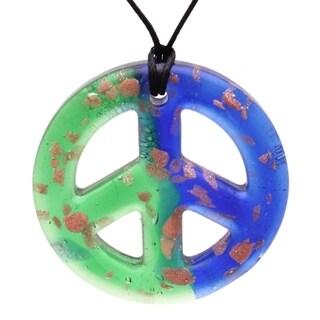 Bleek2sheek Handmade Jewelry Murano-inspired Glass Royal Blue and Bright Green Pendant Necklace