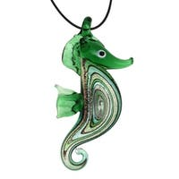 Bleek2sheek Handmade Jewelry Murano-inspired Glass Green Seahorse Pendant Necklace
