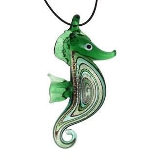 Bleek2sheek Handmade Jewelry Murano-inspired Glass Green Seahorse Pendant Necklace