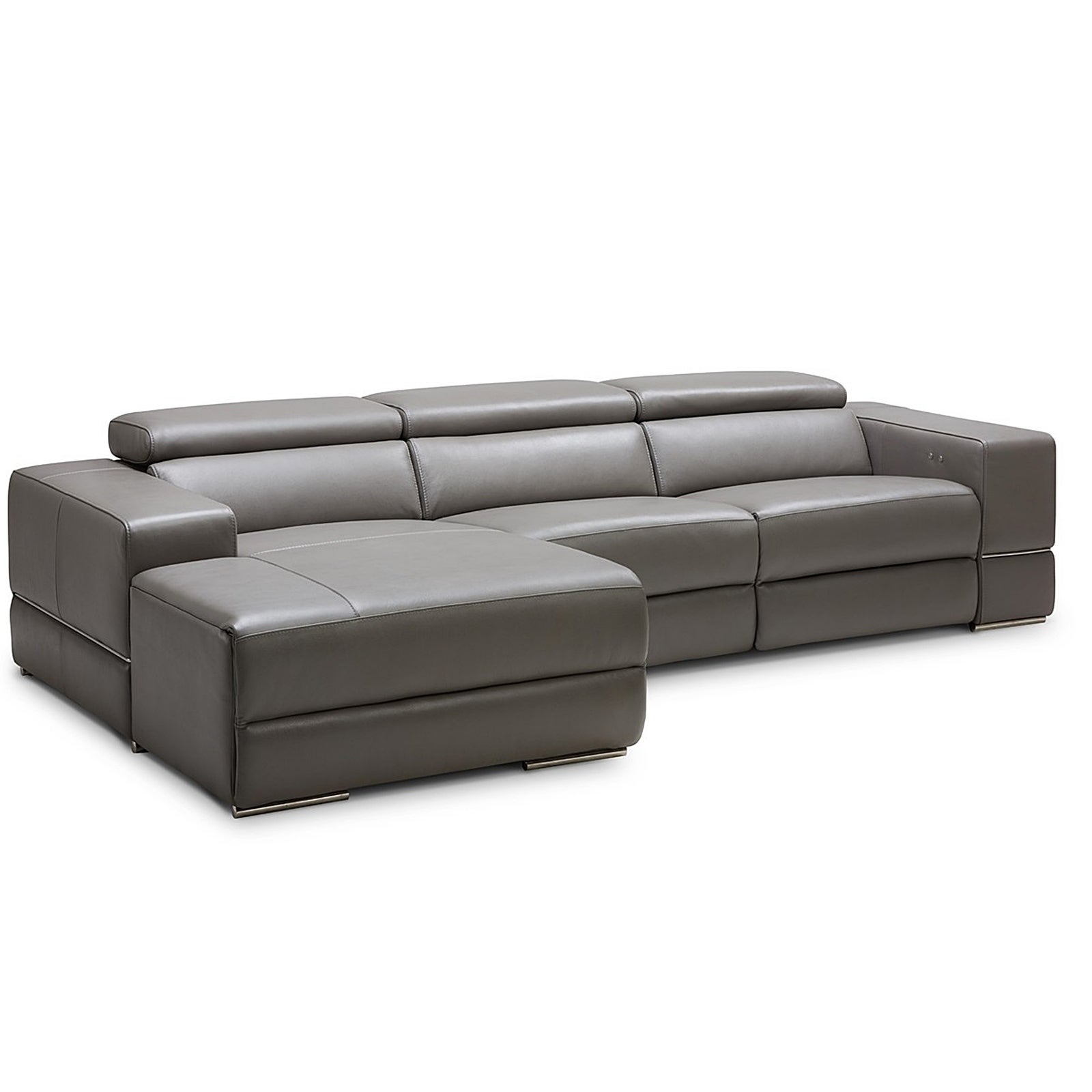Westboro Grey Leather Sectional Sofa with Electric Recliner