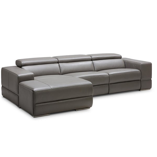 Shop Westboro Grey Leather Sectional Sofa With Electric