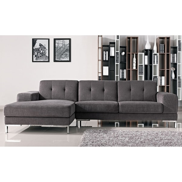 shop halsted classic grey fabric tufted sofa with left facing chaise free shipping today. Black Bedroom Furniture Sets. Home Design Ideas