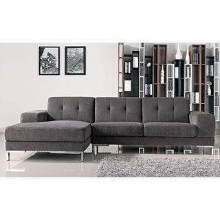 Halsted Classic Grey Fabric Tufted Sofa with Left Facing Chaise