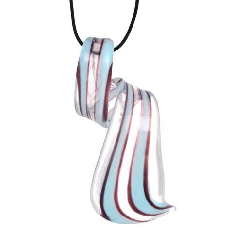 Bleek2sheek Handmade Jewelry Murano-inspired Glass Sky Blue Stripe and Clear twist Pendant Necklace