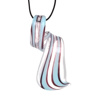 Bleek2sheek Handmade Jewelry Murano Inspired Glass Sky Blue Stripe And Clear Twist Pendant Necklace