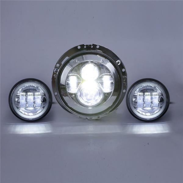 7/'/' Inch LED Projector Headlight Lamp Fog Passing Lights For Harley Touring