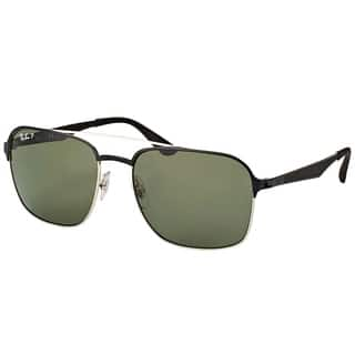 Ray-Ban Aviator RB 3570 90049A Silver Frame Green Polarized Sunglasses