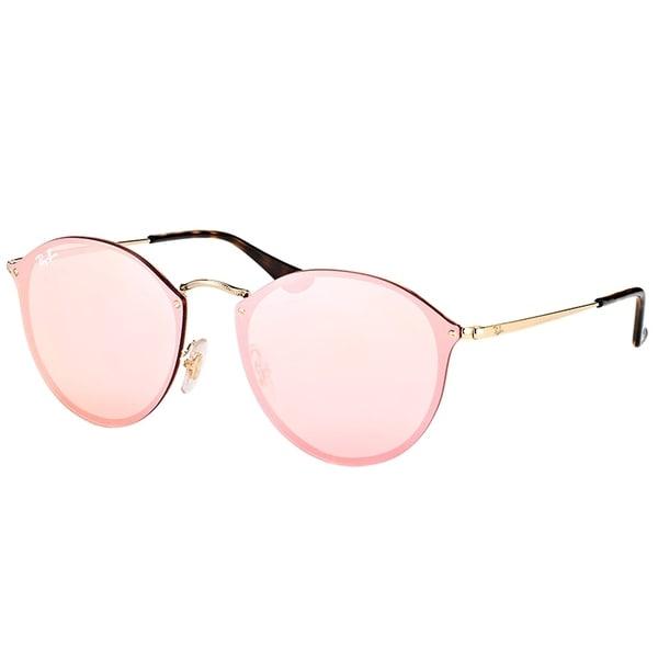 5b68209336c Ray-Ban Round RB 3574N 001 E4 Gold Frame Pink Mirror Lens Sunglasses