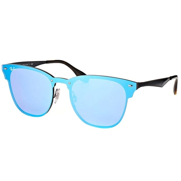 adaac575035 Ray-Ban Clubmaster RB 3576N 153 7V Black Frame Blue Mirror Sunglasses