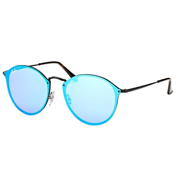 1c5b9a7666d77 Shop Ray-Ban Round RB 3574N 153 7V Black Frame Blue Mirror Lens Sunglasses  - Free Shipping Today - Overstock - 17389278