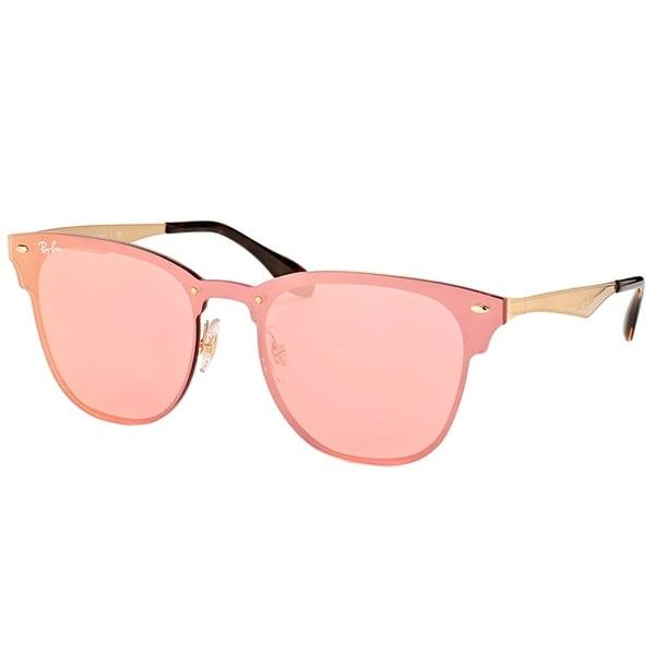 ca4f9b7ff9 Ray-Ban Clubmaster RB 3576N 043 E4 Gold Frame Pink Mirror Sunglasses