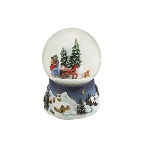 "6.5"" Musical and Animated Christmas Villiage Winter Scene Rotating Water Globe Dome"