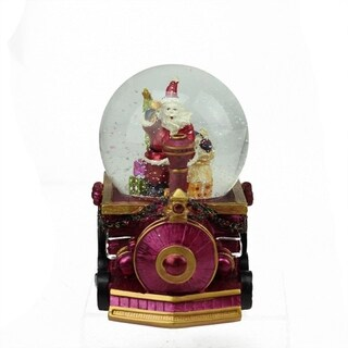 """5.25"""" Santa Claus with Sack of Gifts on Train Christmas Snow Globe Glitterdome"""