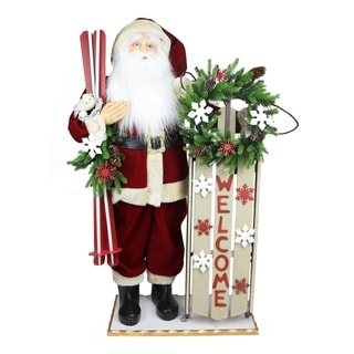 """40"""" Battery Operated Lighted Santa with Welcome Sled and Skis Decorative Christmas Figure"""