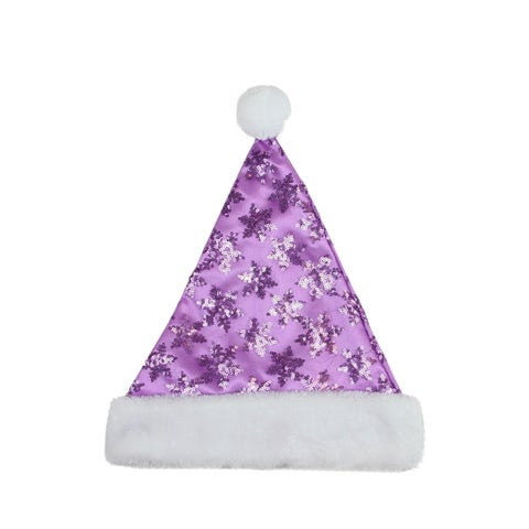"14"" Purple Sequin Snowflake Christmas Santa Hat with White Faux Fur Brim - Medium Adult Size"
