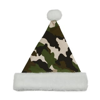 "14"" Green Camouflage Christmas Santa Hat - Medium"