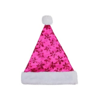 "14"" Pink Sequin Snowflake Christmas Santa Hat with White Faux Fur Brim - Medium Adult Size"