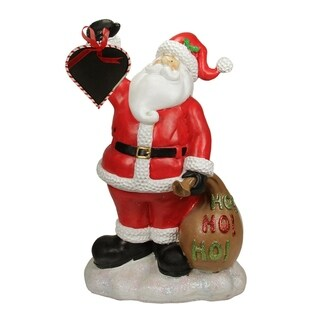 "19"" Festive Santa Claus Holding Toy Sack and Blackboard Christmas Countdown Statue"
