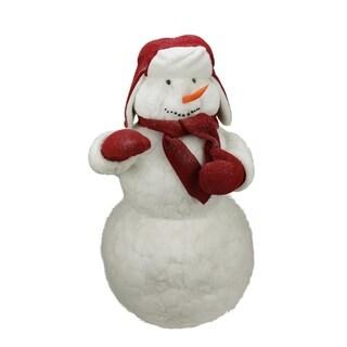 3.5' Commercial White Fluffy Sparkling Glittered Plush Christmas Snowman Figure