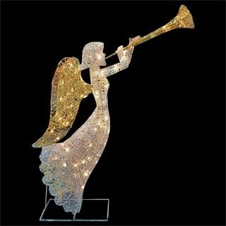 "48"" 3-D LED Lighted Glittering Mesh Trumpeting Angel Christmas Yard Art Decoration"
