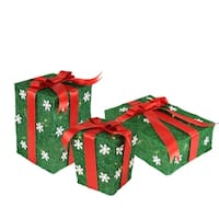 Set of 3 Green Snowflake Sisal Gift Boxes Lighted Christmas Yard Art Decorations