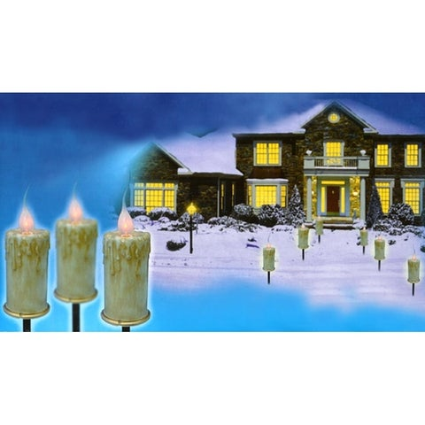 Set of 3 Lighted Flicker Flame C7 Candle Christmas Pathway Markers